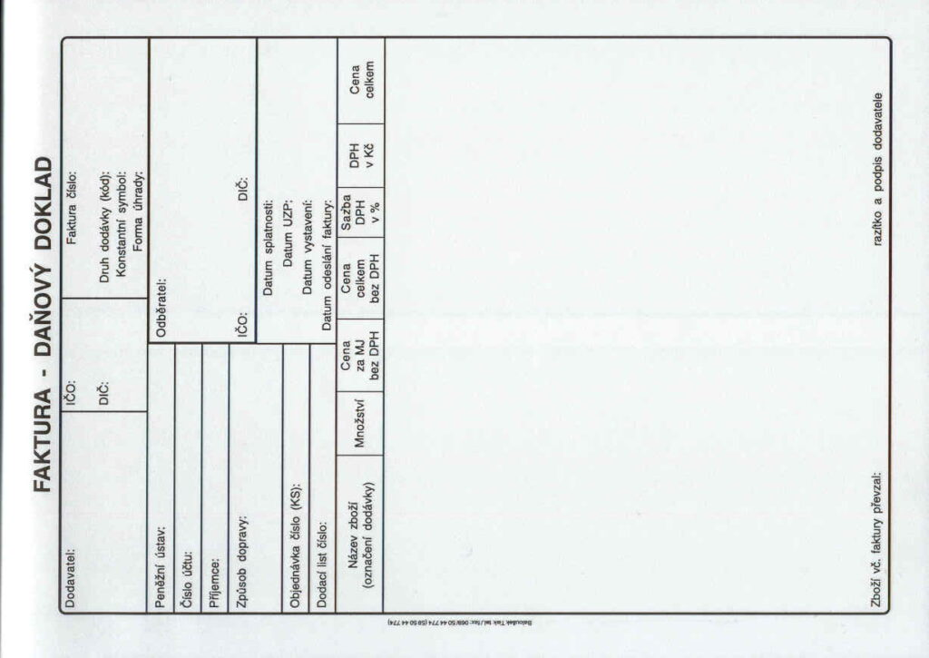 Faktura A5-daňový doklad, propis., /PT199/
