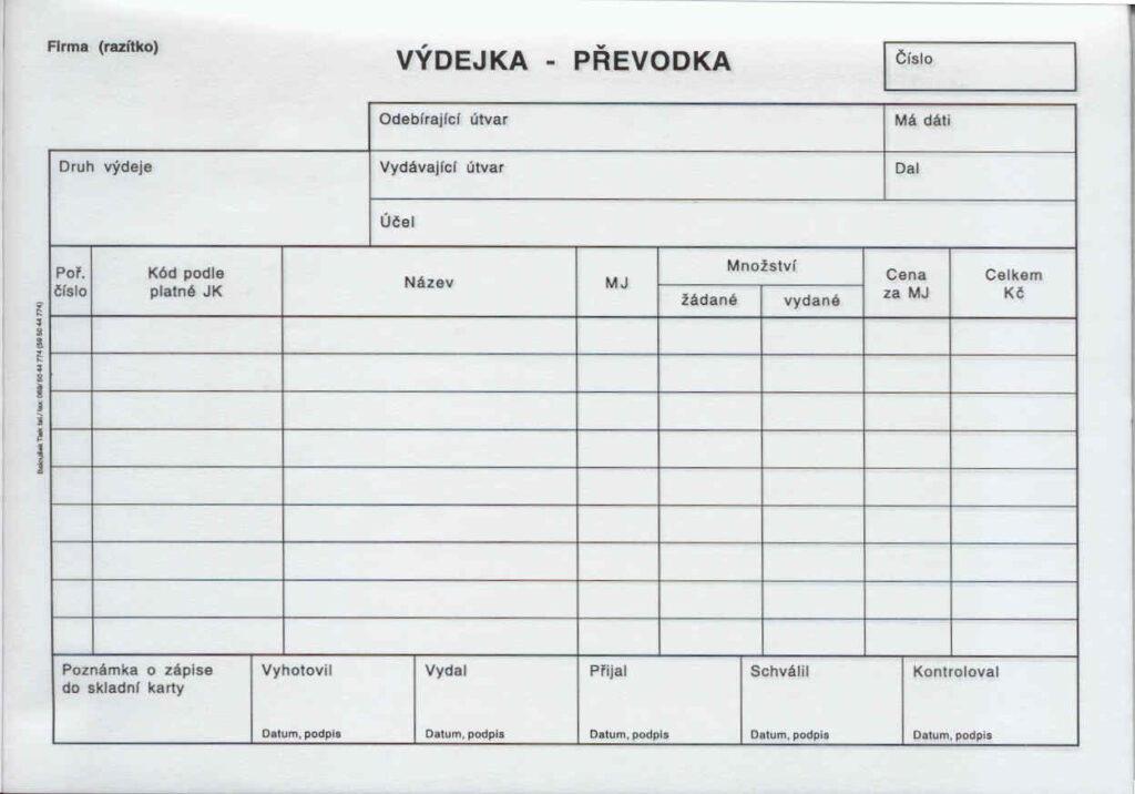 Převodka výdejka A5, propis. /PT230/