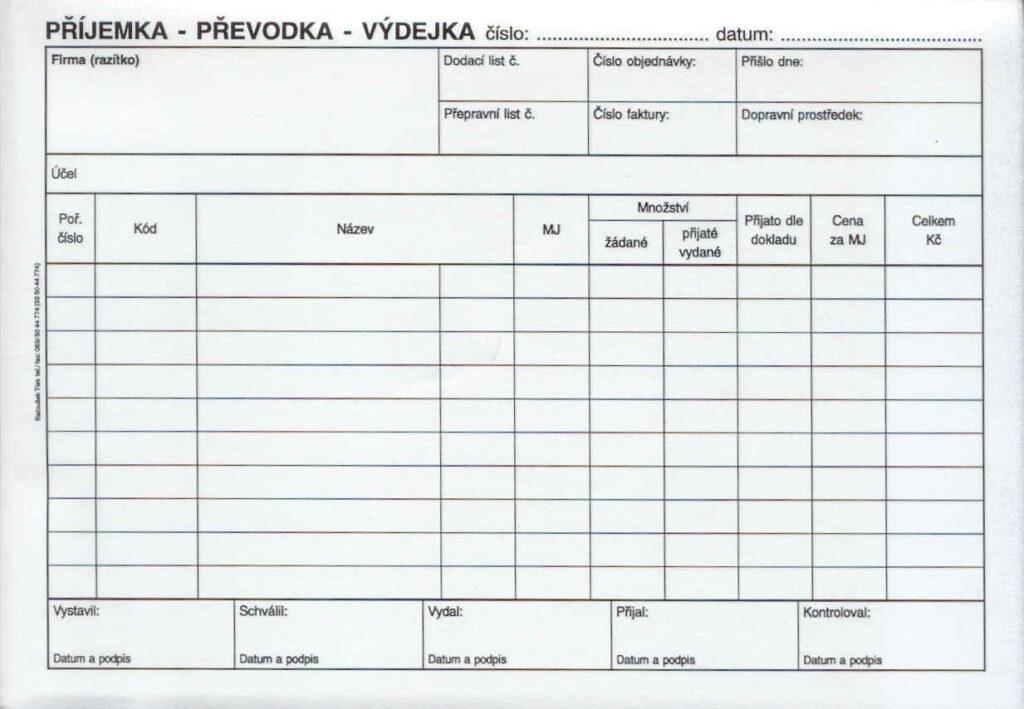 Převodka příjemka-výdejka A5, propis., /PT235/