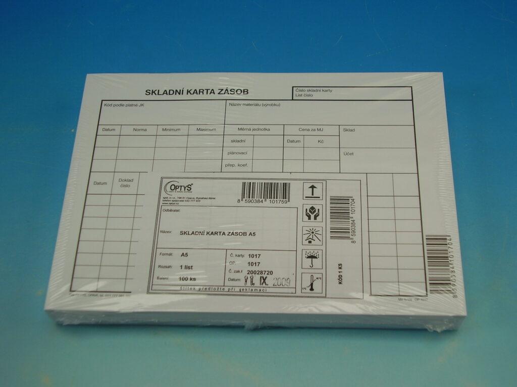 Karta zásob skladová A5 /OP1017/