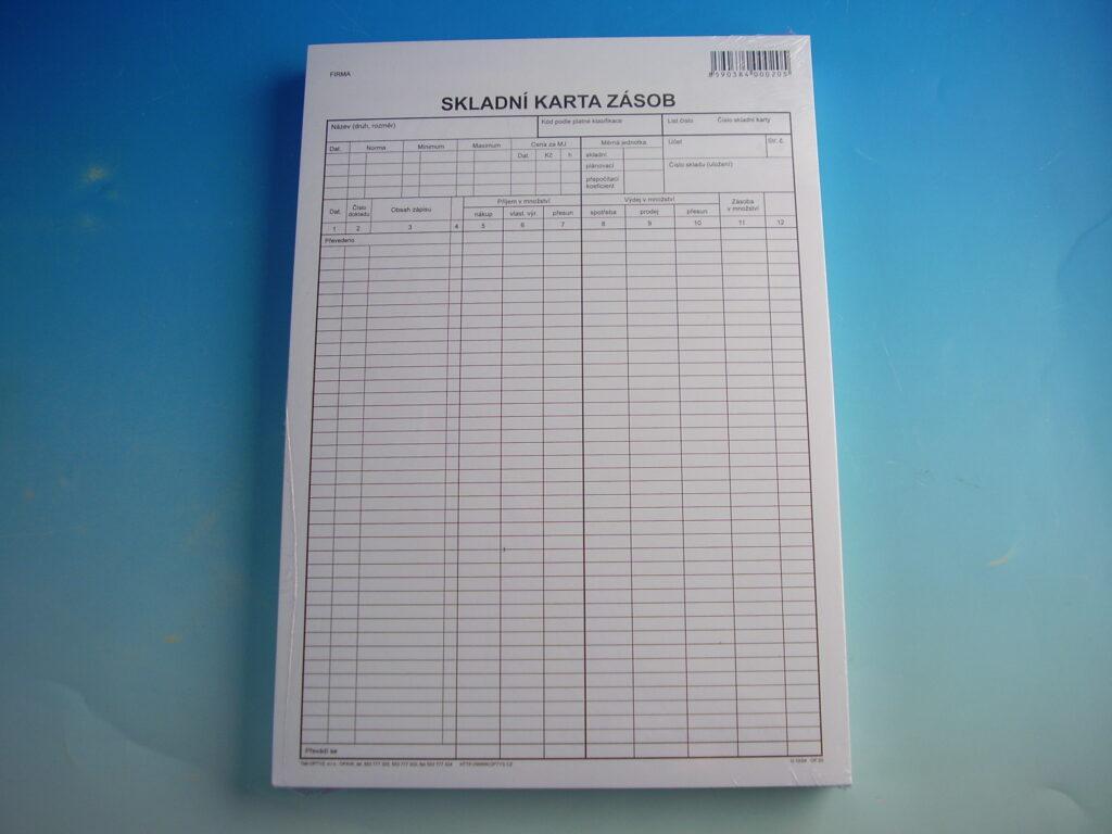 Karta zásob skladová A4 /OP1020/