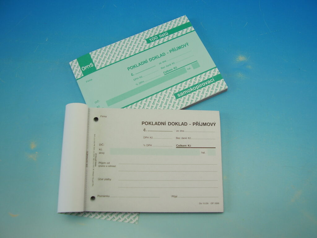 Doklad příjmový pokl. jedn.A6 s DPH  NCR, propis. 100l /OP1068/