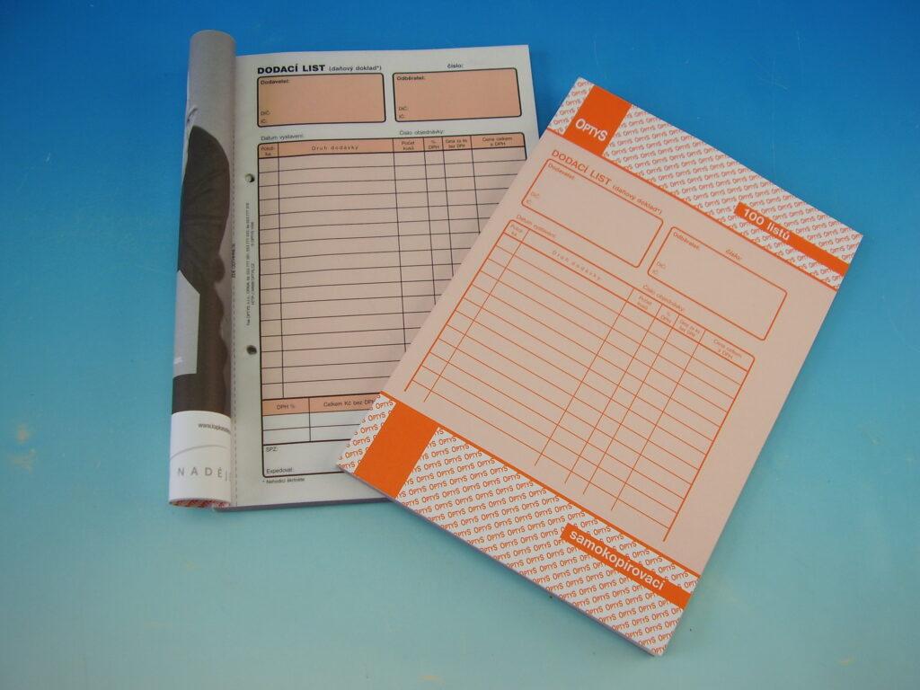 Dodací list A5, daňový doklad  NCR, 100 listů, propis. /OP1077/