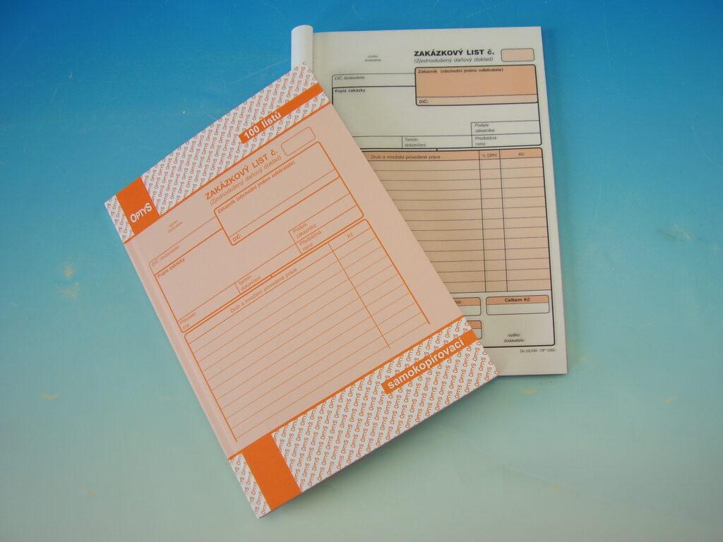 List zakázkový A5 NCR, propis. /OP1085/