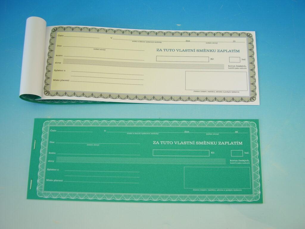 Směnka vlastní  - zaplatím zelená /OP1114/