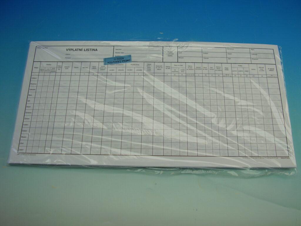 Listina výplatní 42x21 cm /OP1132/