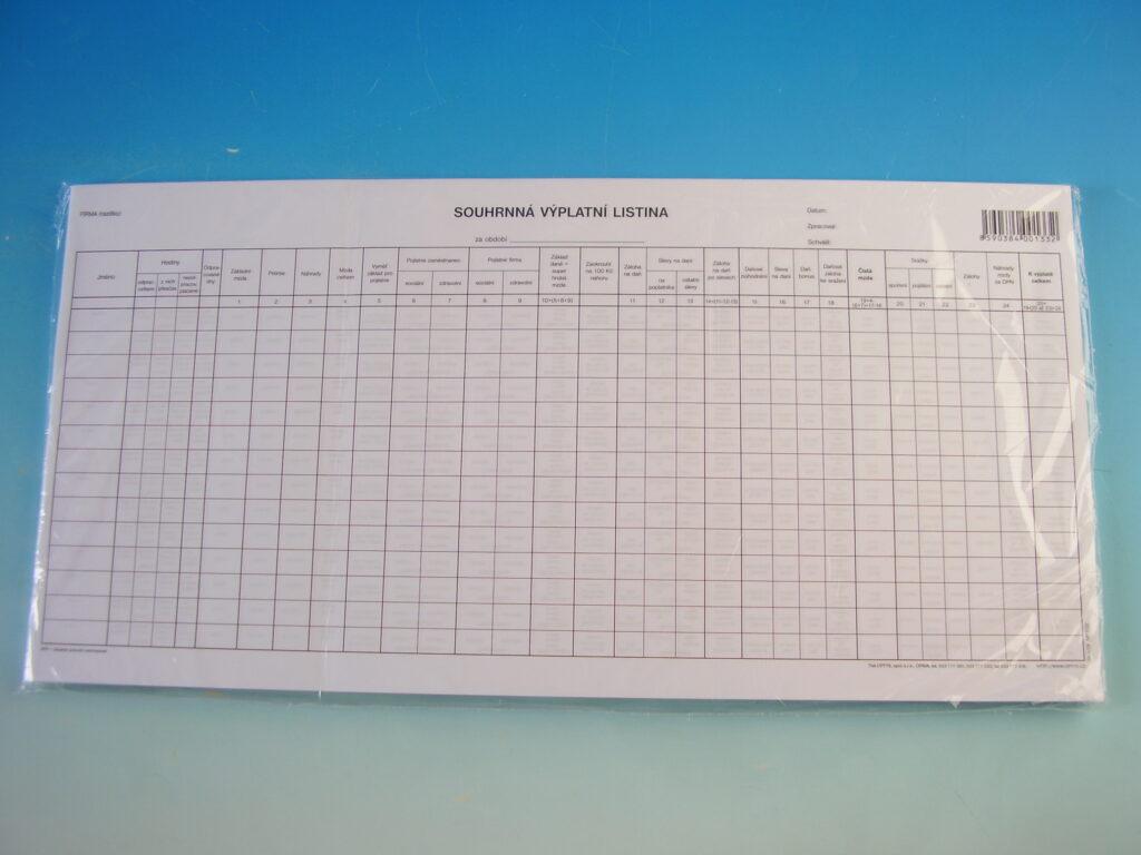 Listina výplatní - souhrn. 42,5x21 cm /OP1133/