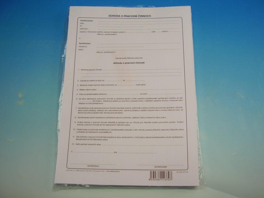 Dohoda o pracovní činnosti A4 /OP1137/