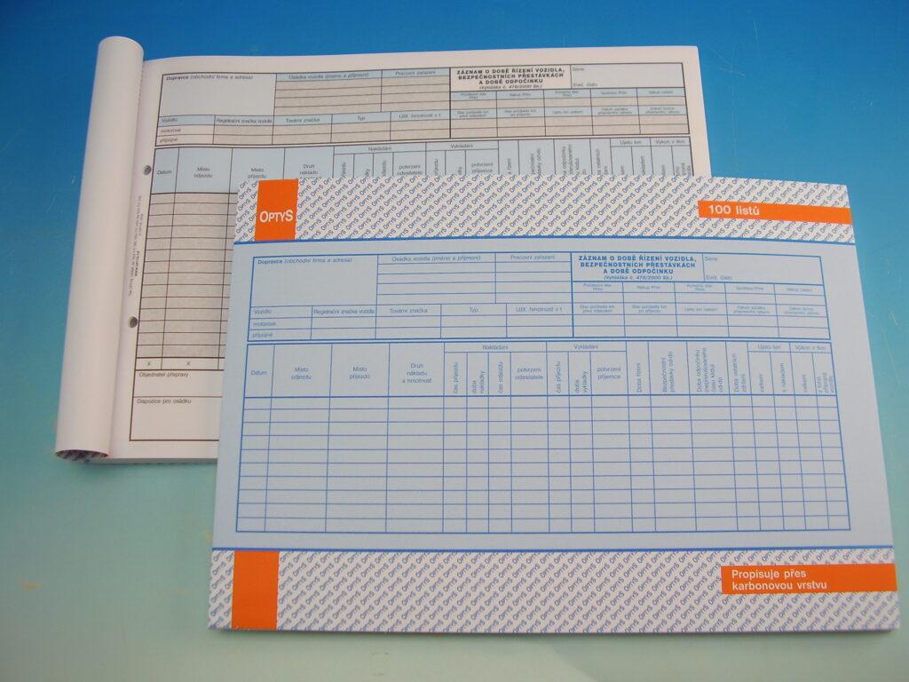 Záznam o době říz. voz.a bezp.př. A4 100 l. /OP1174/