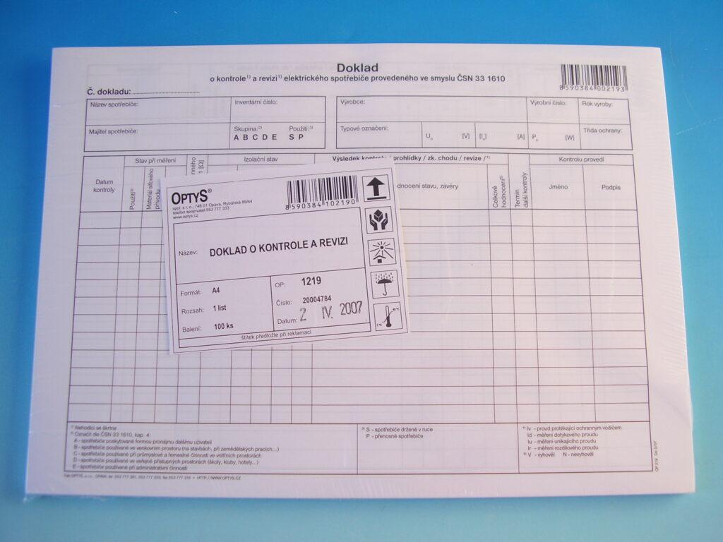 Doklad o kontr.a revizi el.spotřebiče /OP1219/