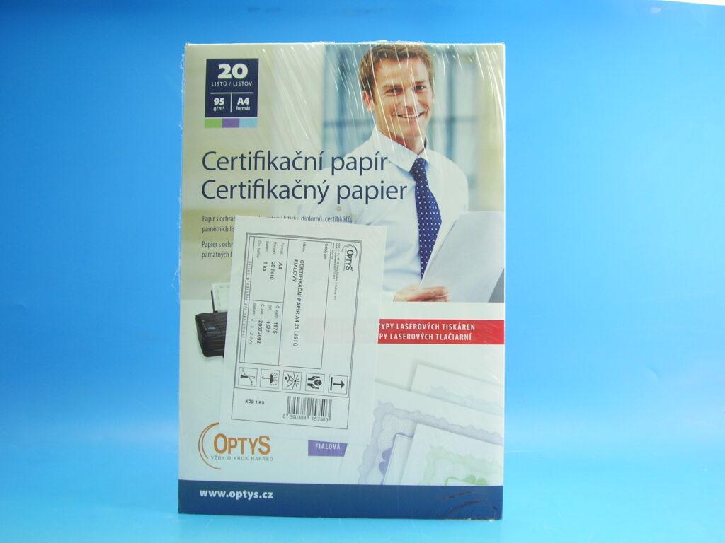 Papír certifikační FIALOVÝ A4 /OP1575/