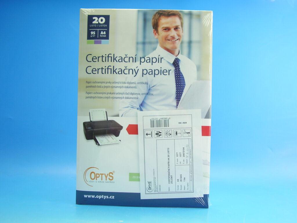Papír certifikační ZELENÝ A4 /OP1577/