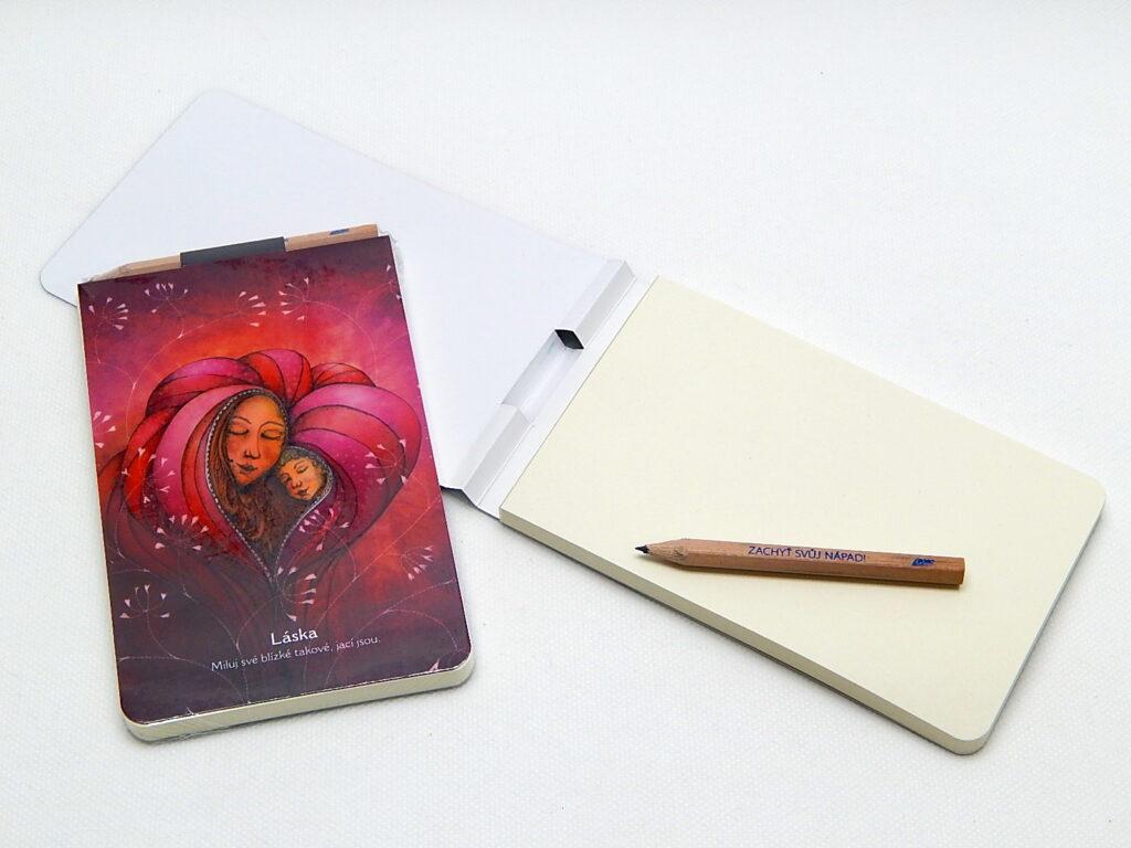 Bloček s tužkou a magnetem, 90 g, 9x15cm, Láska
