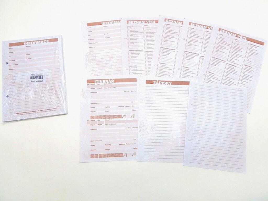 Zápisník cestovatelský náplň BU030