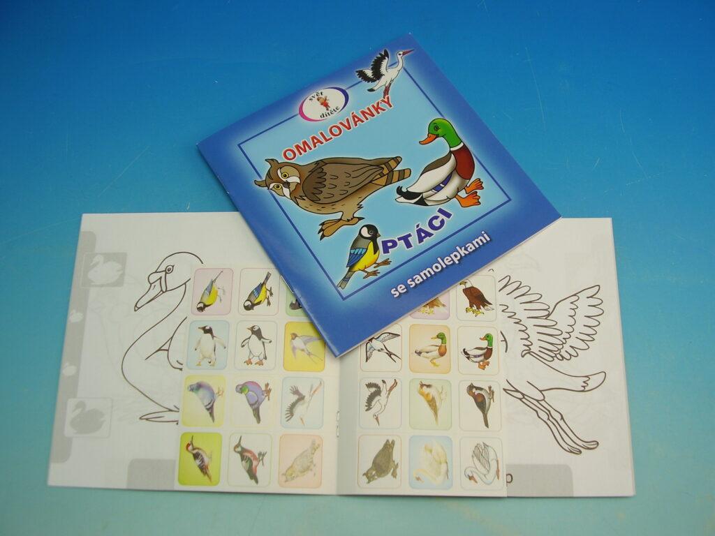 Omalovánky 15x15 Ptáci + samolepky