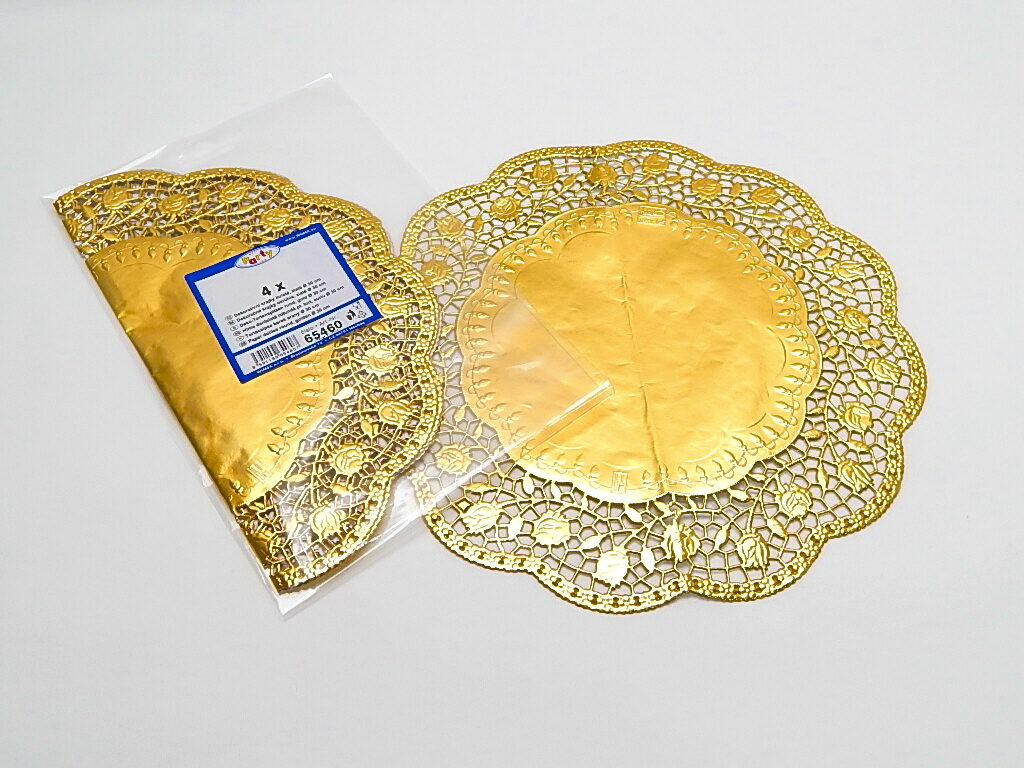 Krajka dekorativní kulatá 30cm, zlatá/ 4ks/