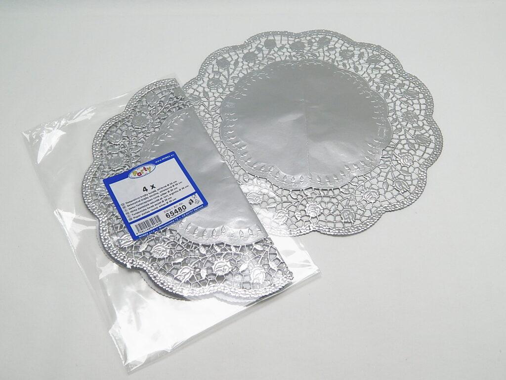 Krajka 65480 dekorativní kulatá 30cm, stříbrné/ 4ks/
