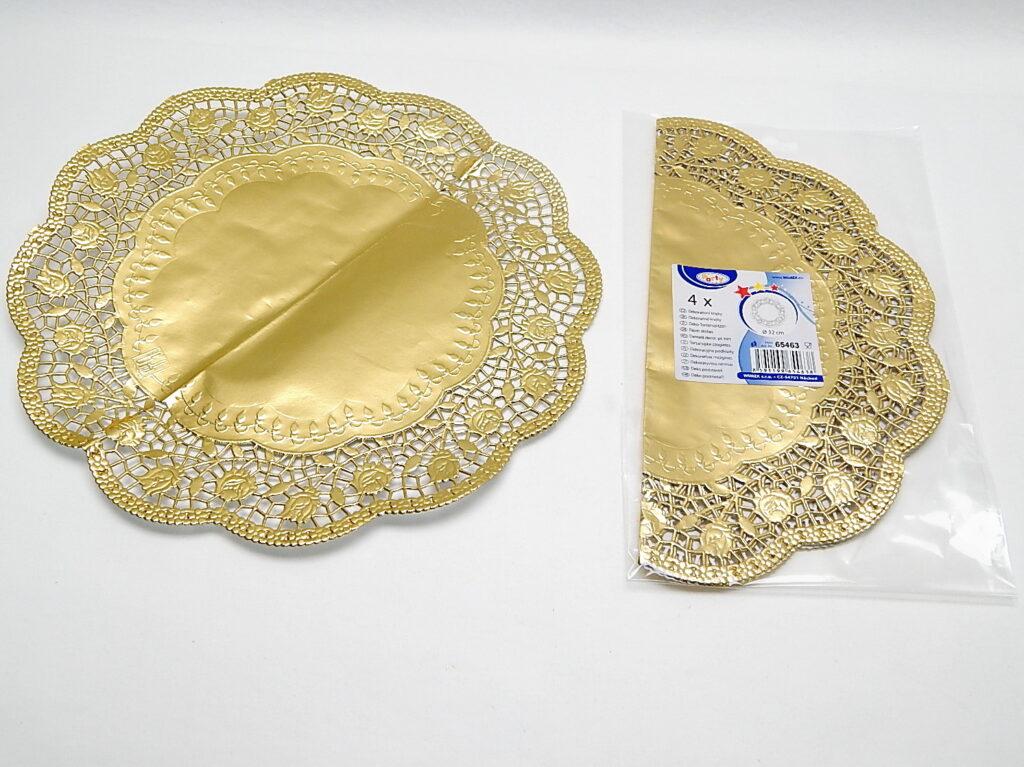 Krajka 65463 dekorativní kulatá 32cm, zlatá/ 4ks/