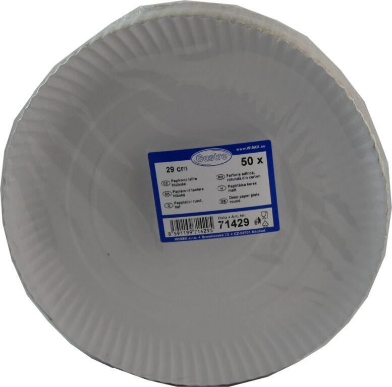 Talíř 29cm papírový hluboký 50ks /71429/
