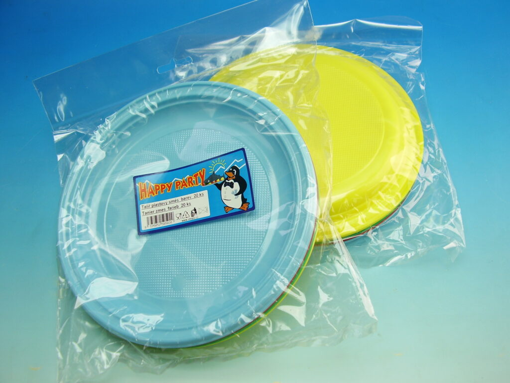Talíř 22cm plastový barevný mělký 20ks /5002040/