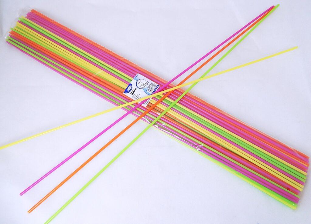 Slámky 66111 rovné XXL neon 100 cm, prům.6,5 mm [100 ks]