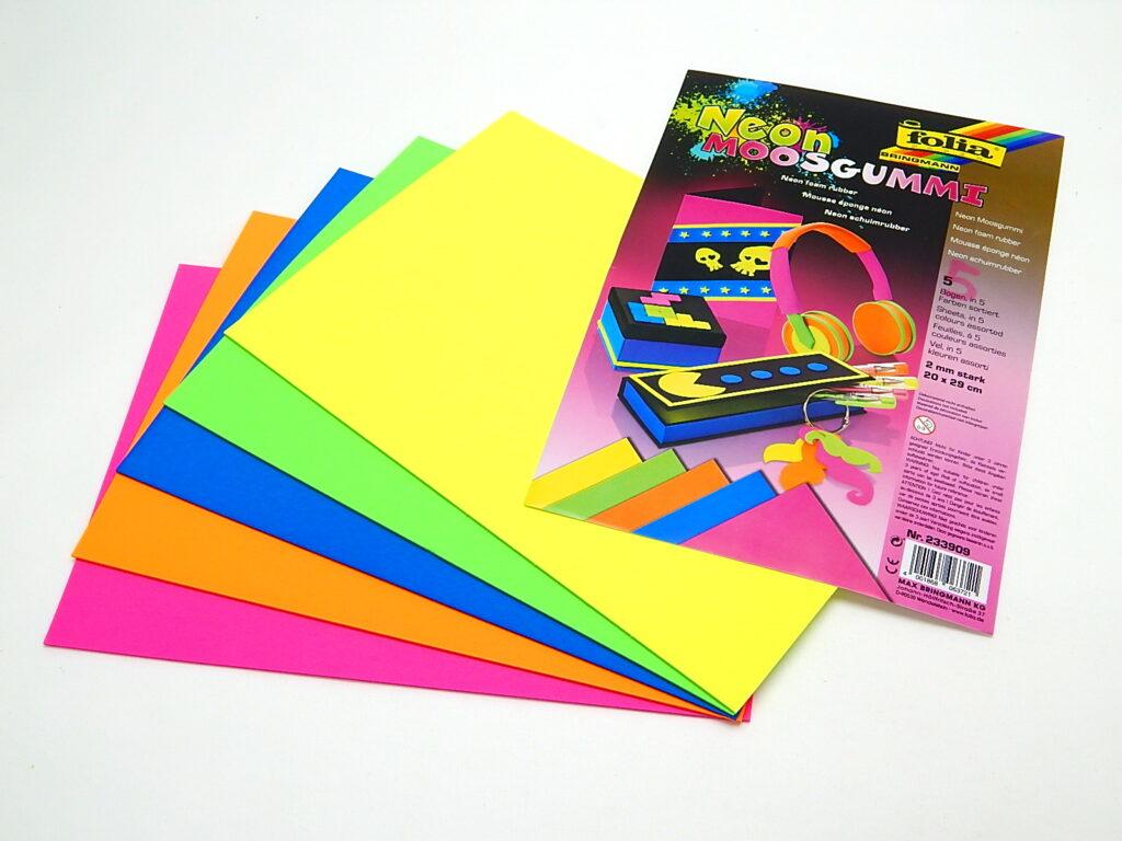 Guma pěnová 20x29cm 5 listů NEON MIX 5 barev  233909