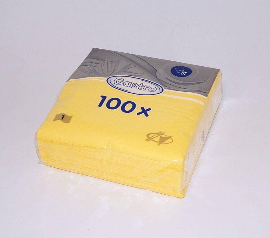 Ubrousky 33 x 33 cm, 1 v., žluté 100 ks