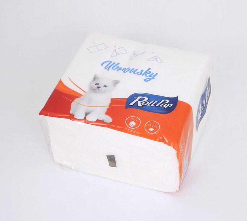 Ubrousky Gastro 33 x 33 1 v., bílé 100 ks
