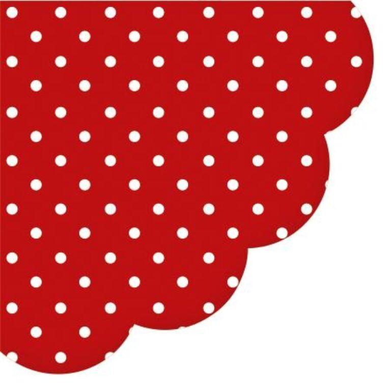 Ubrousky pr. 32cm Rondo červené s bílým puntíkem /SDL066023/