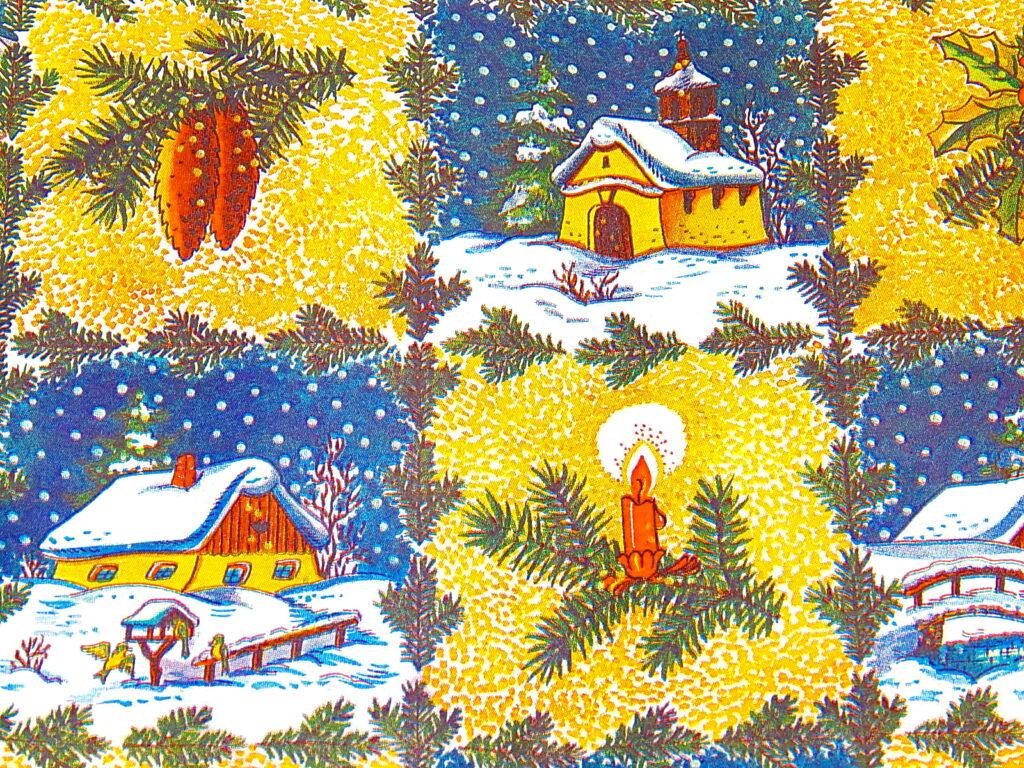 Papír vánoční Lika Chaloupka se zvonečky 70x100 cm