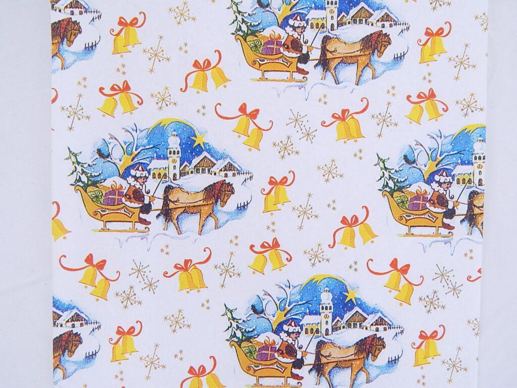 Papír vánoční Lika Zima na saních 70x100
