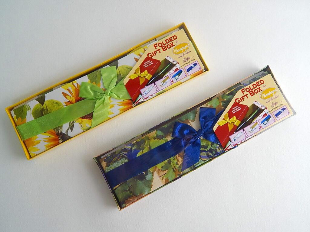 Krabička dárková 1379  skládací s mašlí na láhev celoroční 34x9,5x9,5cm