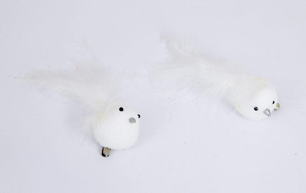 Ptáček bílý na klipu 10cm, 2ks /3280/
