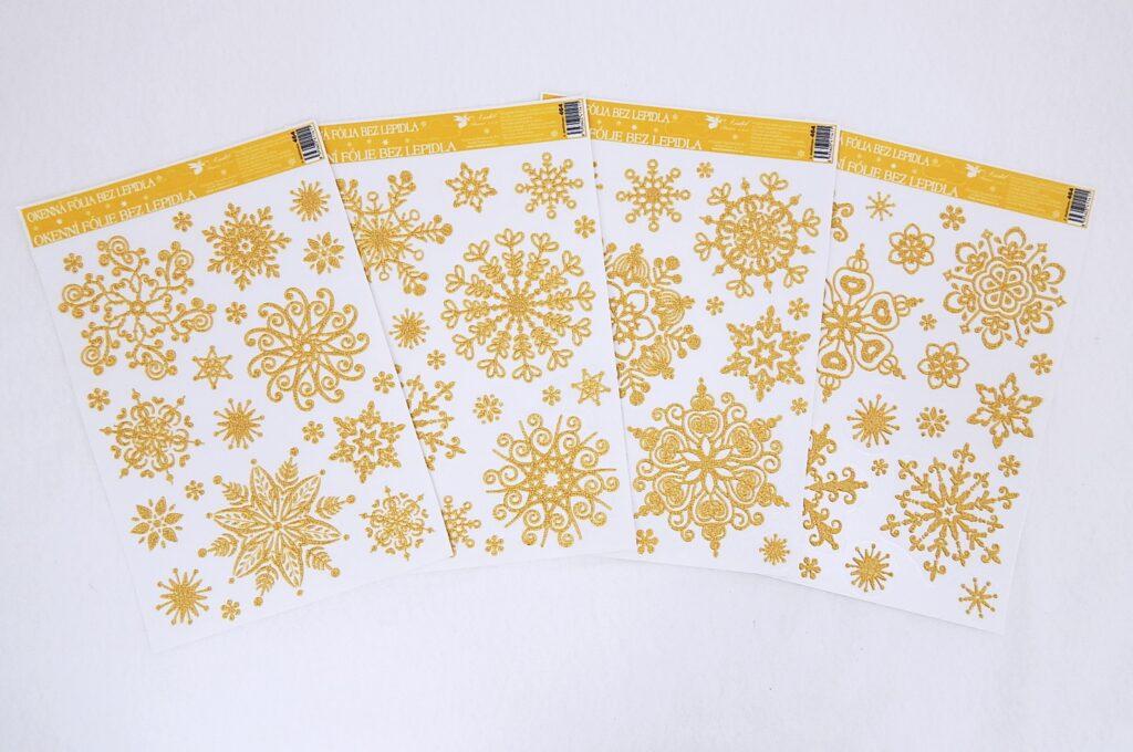 Dekorace okenní sněhové vločky efekt zlatý /464/