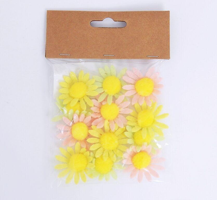 Květy z filcu s lepíkem 4cm 12ks /8565/