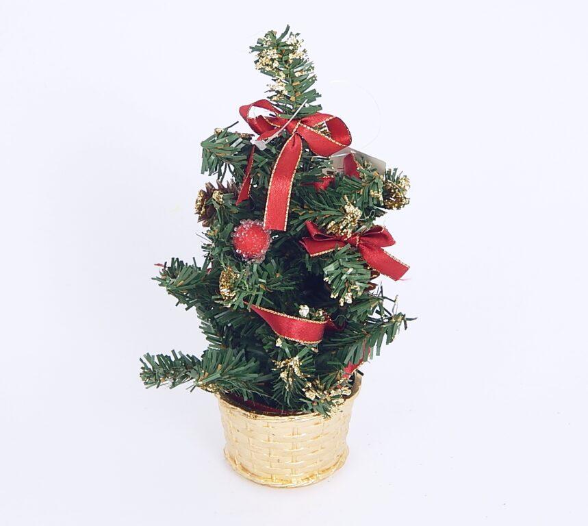 Stromek zdobený červený s mašlí 20cm /3324/