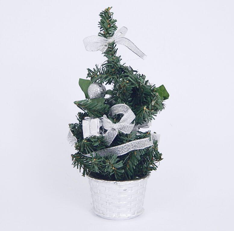 Stromek zdobený stříbrný s mašlí 20cm /3325/