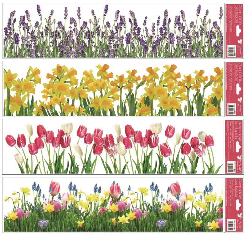 Okenní fólie pruhy květiny 64x15 cm/992