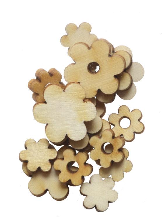 Výřez dřevěný Květiny MIX 15ks /10203/