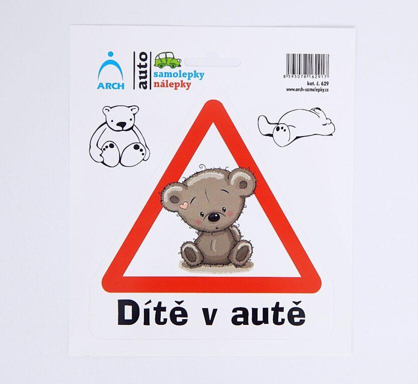 """Samolepka """"Dítě v autě"""" medvídek /629/"""