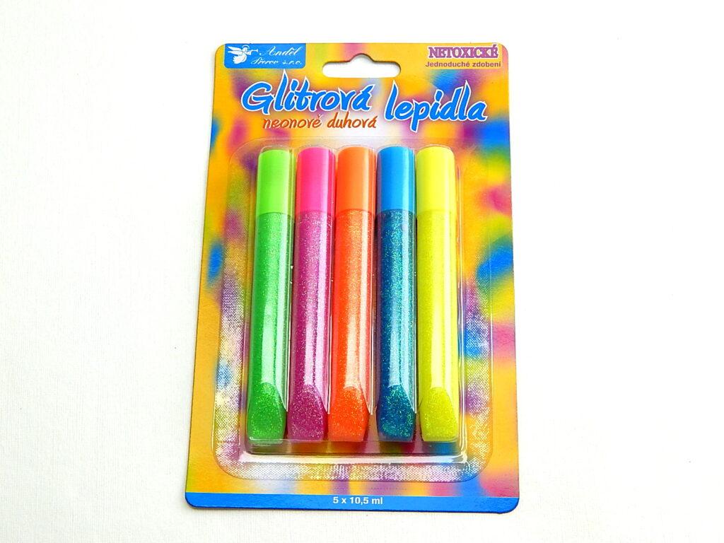 Lepidlo glitrové 5ks duhový neon 10,5ml /6655/