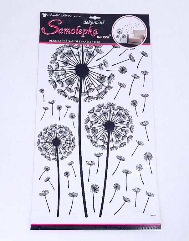 Samolepky pokoj. dekorace pampeliška černá 50x32 cm /10148/