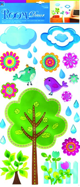 Samolepky pokoj. dekorace strom s plastickým dekorem 69x32cm /580/