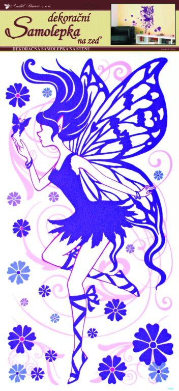 Samolepky pokoj. dekorace zeď víla fialová 69x32cm /642/