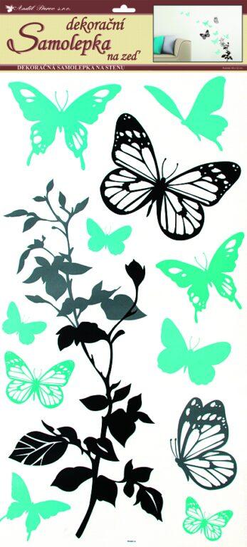 Samolepky pokoj. dekorace černošedá s tyrkysovými motýli 69x32cm /1030/