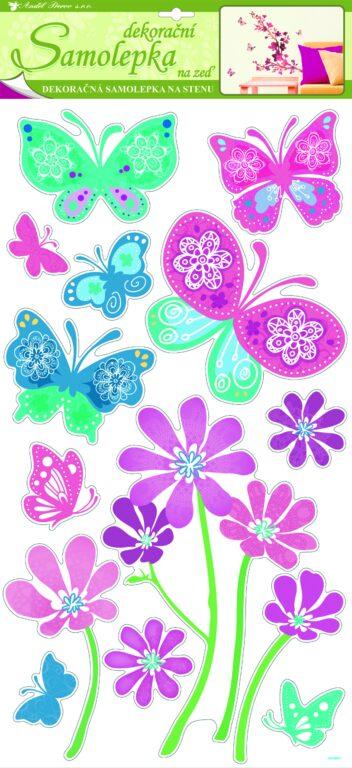 Samolepky pokoj. dekorace motýlci růžoví a modří květinami 69x30cm /1046