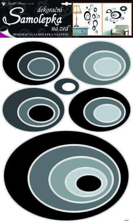 Samolepky pokoj. dekorace elipsy černé 70x42cm /1059/