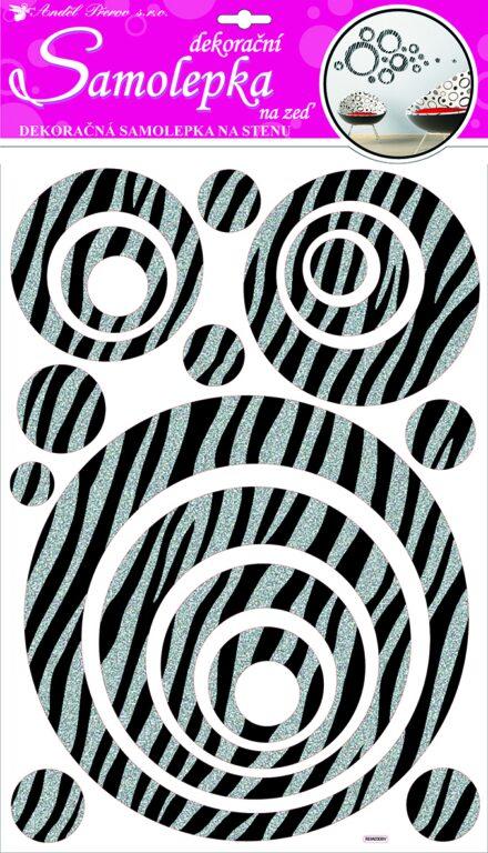 Samolepky pokoj. dekorace kruhy se stříb. glitr. pruhy 60x32cm /10009/