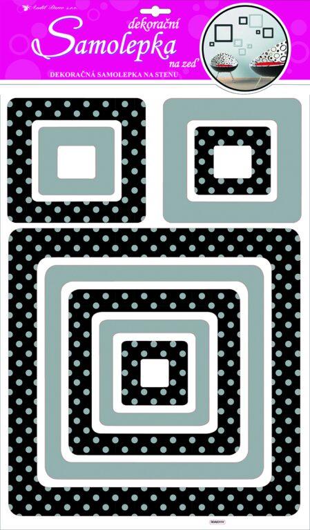 Samolepky pokoj. dekorace čtverec se stříb. glitr. puntíky 60x32cm /1001