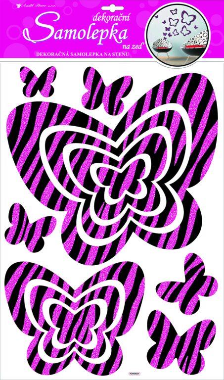 Samolepky pokoj. dekorace motýli s růž. glitr. pruhy 60x32cm /10013/